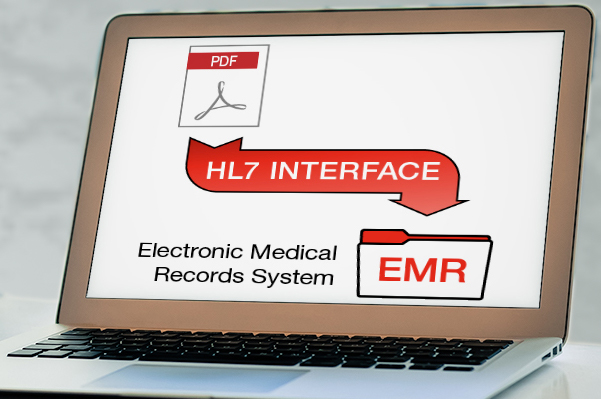laptop screen HL7 to EMR flow